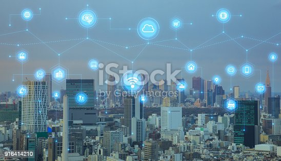 istock Smart city concept. IoT(Internet of Things). ICT(Information Communication Technology). 916414210