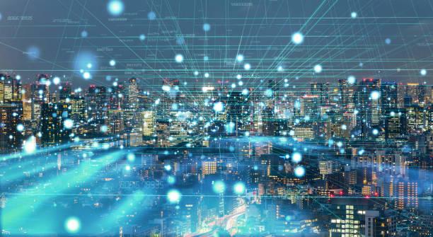 smart city concept. iot(internet of things). - rete elettrica foto e immagini stock