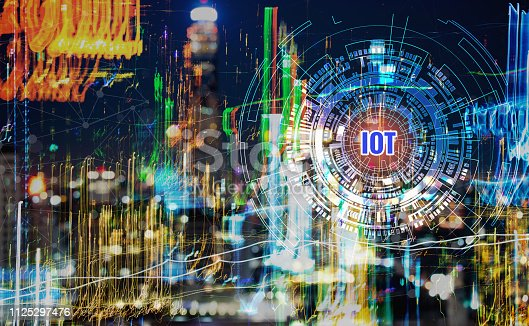 istock Smart City digital IOT network concept, Building business with graphical interface / atificial of internet of things. Communication technology of futuristic cities. Ideas for travel hi-tech in cities 1125297476