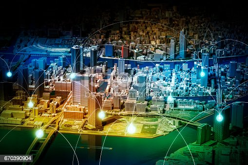 istock smart city diorama and wireless sensor network, sensor node and connecting line, information communication technology, internet of things, abstract image visual 670390904