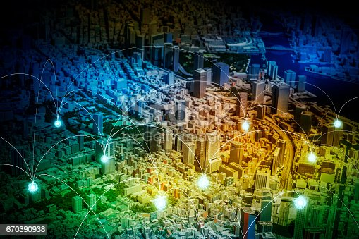 istock smart city diorama and wireless sensor network, sensor node and connecting line, information communication technology, internet of things, abstract image visual 670390938