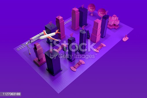 istock Smart City, Driverless, Connected Car Concept 1127063169