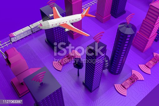 istock Smart City, Driverless, Connected Car Concept 1127063397