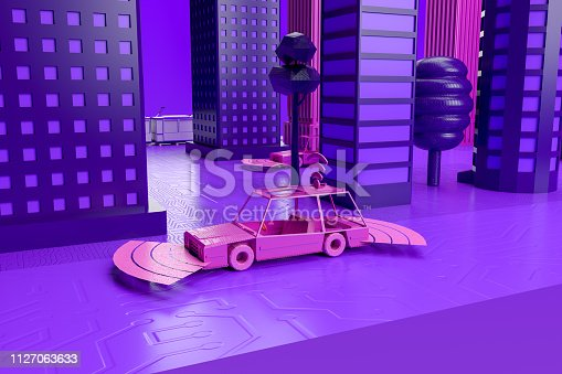 istock Smart City, Driverless, Connected Car Concept 1127063633