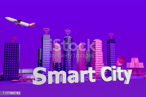 istock Smart City, Driverless, Connected Car Concept 1127063783