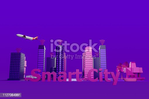 istock Smart City, Driverless, Connected Car Concept 1127064991