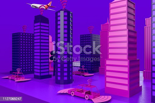 istock Smart City, Driverless, Connected Car Concept 1127065247