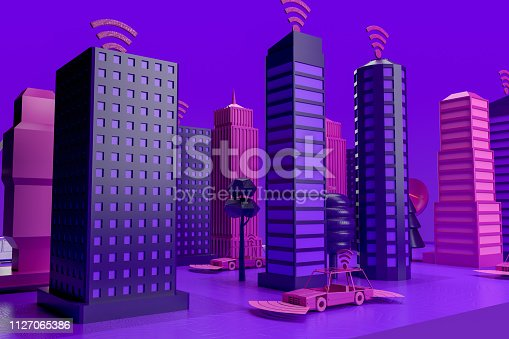 istock Smart City, Driverless, Connected Car Concept 1127065386