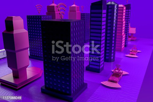 istock Smart City, Driverless, Connected Car Concept 1127066049