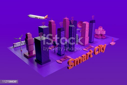 istock Smart City, Driverless, Connected Car Concept 1127066081
