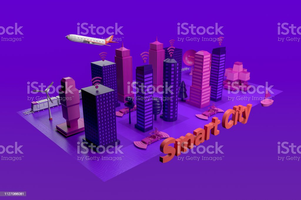 스마트 시티, 무인, 연결 자동차 컨셉 스톡 사진