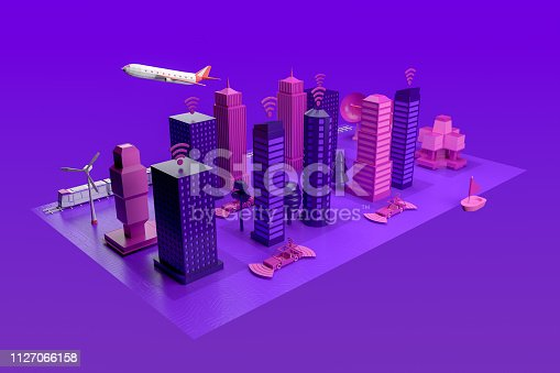 istock Smart City, Driverless, Connected Car Concept 1127066158
