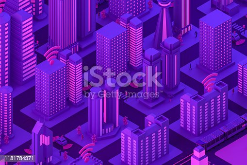 1141355850istockphoto 3D Smart City, Driverless, Connected Car Concept 1181784371