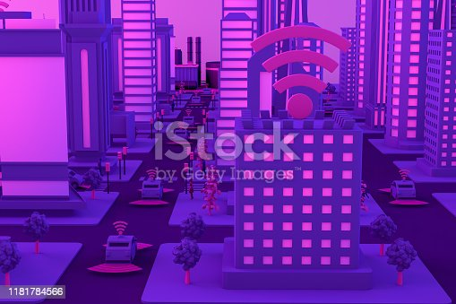 1141355850istockphoto 3D Smart City, Driverless, Connected Car Concept 1181784566