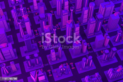 1141355850istockphoto 3D Smart City, Driverless, Connected Car Concept 1181785786