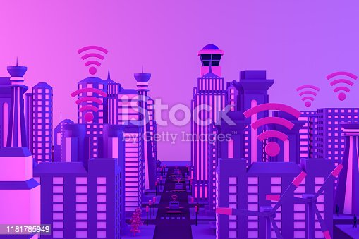 1141355850istockphoto 3D Smart City, Driverless, Connected Car Concept 1181785949