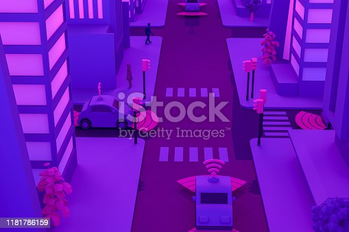 1141355850istockphoto 3D Smart City, Driverless, Connected Car Concept 1181786159