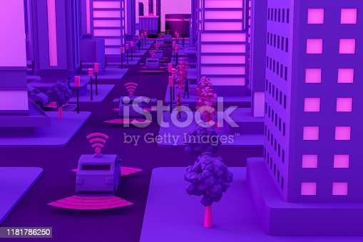 1141355850istockphoto 3D Smart City, Driverless, Connected Car Concept 1181786250