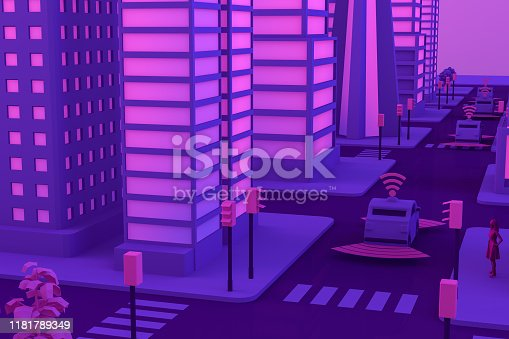 1141355850istockphoto 3D Smart City, Driverless, Connected Car Concept 1181789349