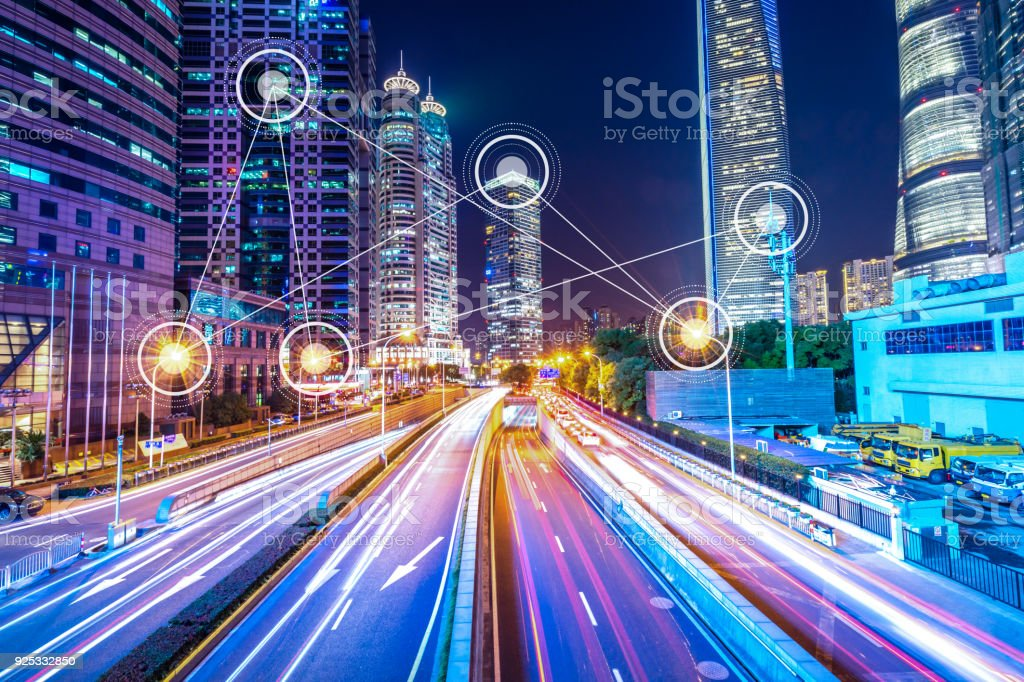smart city in urban stock photo