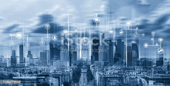 istock Smart city, internet wireless and networking in the city. Futuristic modern city with internet network and online media application icons 1159319544