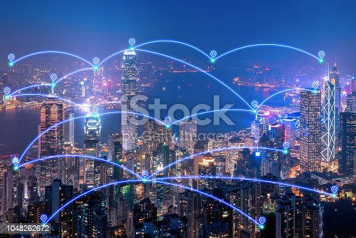 istock Smart city location network service and internet of things concept in big city downtown of Hong Kong 1048262672