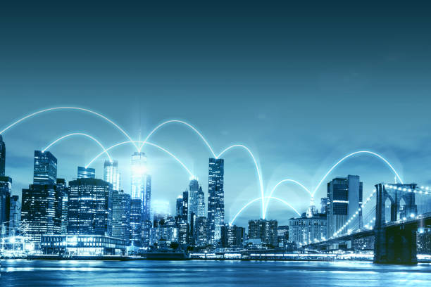smart city - network connected buildings in new york city - smart city stock photos and pictures