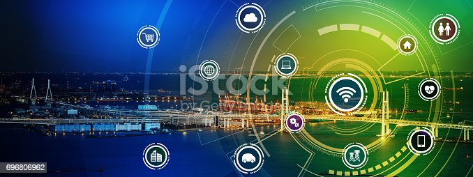istock smart city panorama and wireless communication network concept, Internet of Things, Information Communication Network, rectangular image visual 696806962