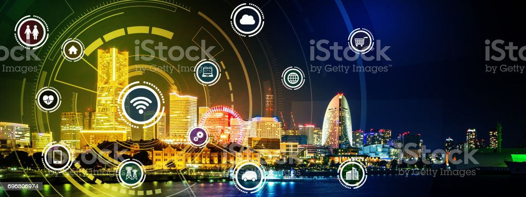 smart city panorama and wireless communication network concept, Internet of Things, Information Communication Network, rectangular image visual stock photo