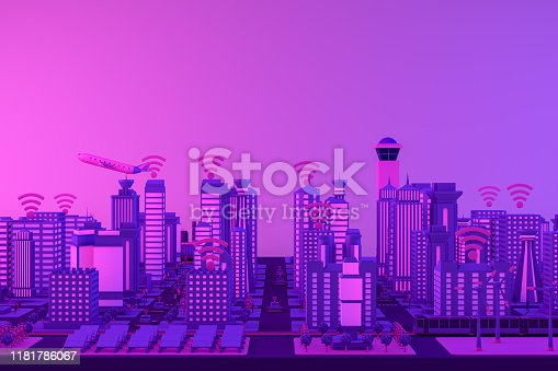1141355850istockphoto 3D Smart City, Solar Energy, Driverless Connected Car Concept 1181786067