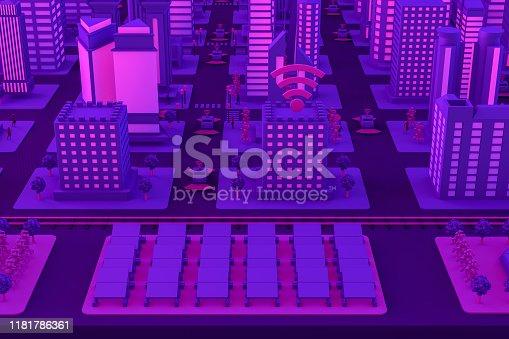 1141355850istockphoto 3D Smart City, Solar Energy, Driverless Connected Car Concept 1181786361