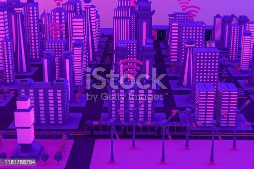 1141355850istockphoto 3D Smart City, Wind Turbines, Driverless Connected Car Concept 1181788754