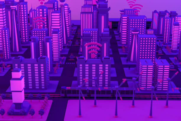 3D Smart City, Wind Turbines, Driverless Connected Car Concept Autonomous, Self Driving, Driverless, Connected Cars with wireless icons and sensors in city life. Smart City Concept. augmented reality sustainable stock pictures, royalty-free photos & images