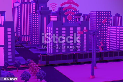 1141355850istockphoto 3D Smart City, Wind Turbines, Driverless Connected Car Concept 1181789056