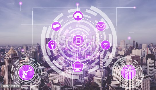 1004683496 istock photo Smart city wireless communication network concept. 1032953080