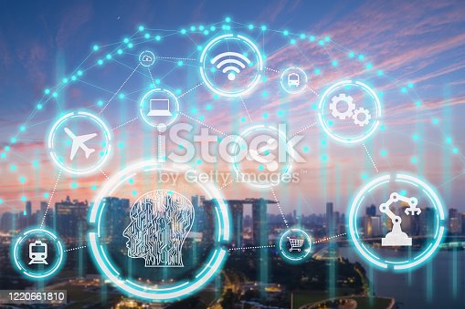 861165648 istock photo Smart city, wireless technology, communication concept, New generation of Modern city connect with intelligence technologies futuristic icons added 1220661810