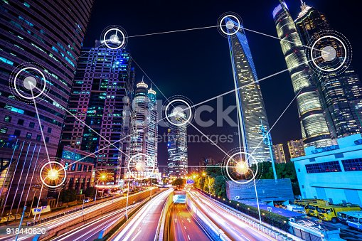 istock smart city with modern office building 918440620