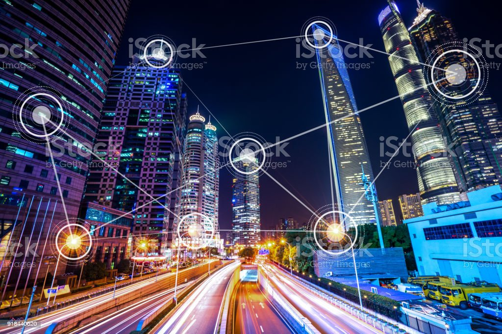 smart city with modern office building stock photo