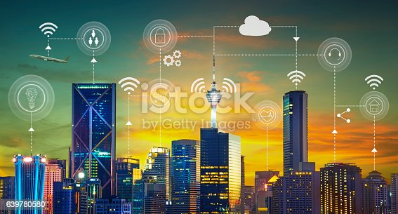 istock Smart city with smart services and icons 639780580