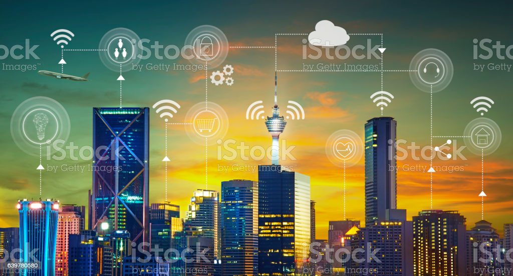 Smart city with smart services and icons stock photo