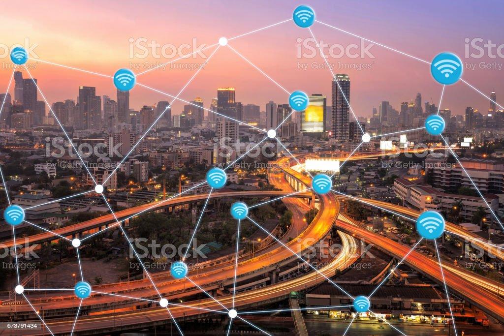 Ville intelligente avec connexion wifi, montrant une technologie intelligente de l'internet des objets photo libre de droits