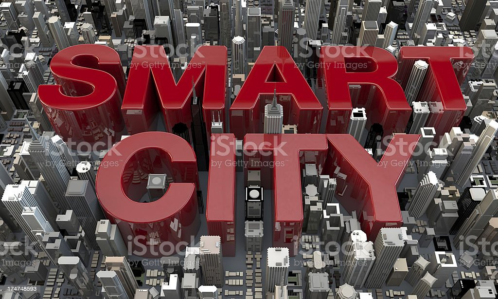 Smart City word letters in between skyscrapers 3d top view stock photo