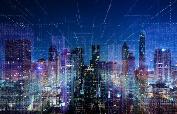 smart cityscape with wireless network - smart city imagens e fotografias de stock