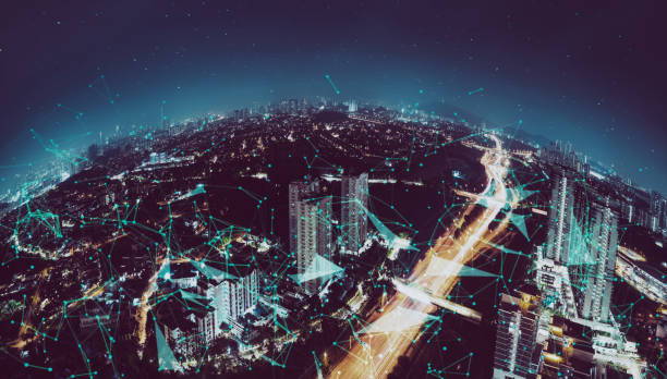 Smart cityscape with wireless network stock photo