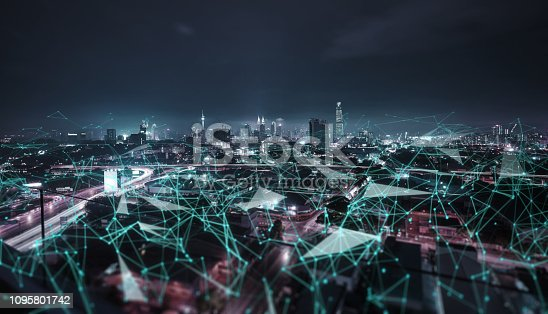 istock Smart cityscape with wireless network 1095801742