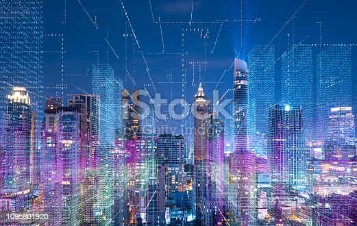 istock Smart cityscape with wireless network 1095801920