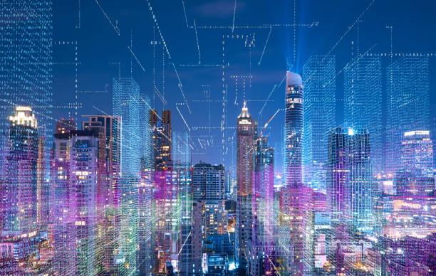 cityscape intelligente avec réseau sans fil - business malaysia photos et images de collection