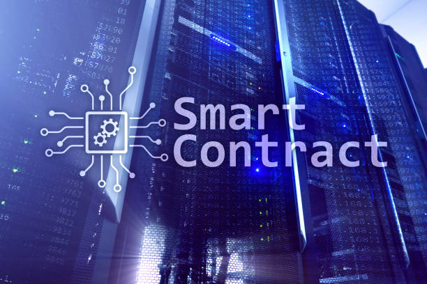 Smart contract, blockchain technology in modern business. stock photo