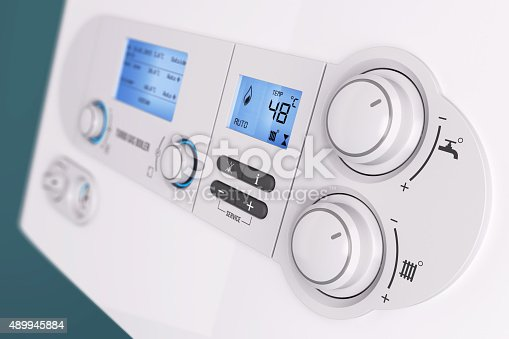 istock Smart control panel household gas boiler 489945884