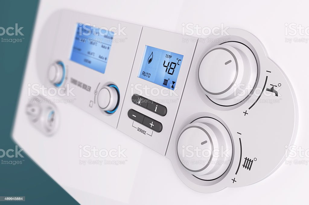 Smart control panel household gas boiler stock photo